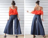 French 70s vintage blue denim cotton extra wide leg bell bottom palazzo flared jeans pants XS