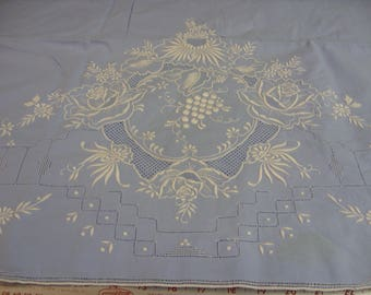 """No. 600 Very Nice Sky Blue/White Hand Embroidered Cotton Top Sheet and 2 pillowcase Shams; 86 x 112"""""""