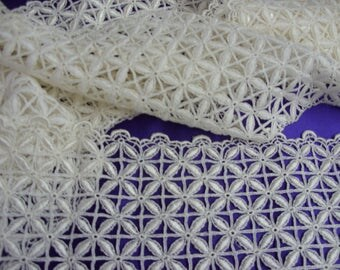 """No. 100 Creamy White Rayon Guipure Insertion Lace; 3 Yds and 10"""" x 6.5""""; Pristine"""