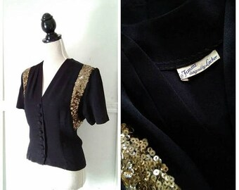 20% OFF / Fool's Gold 1940s Short Sleeve Black Blouse with Gold Sequin Detail