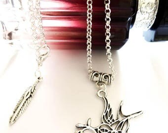 Silver metal necklace Bird Tattoo swallow Peace and Love