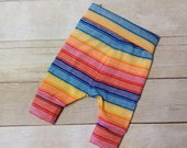 Rainbow Harem Pants - Rainbow Grow with Me Pants - 0-6 Month Pants - Baby Yoga Pants - Rainbow Leggings - Baby Girl Pants