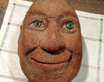 Quirky Vintage Carved and Painted Coconut Head Sculpture / Folk Art / Male / Man / Green-Eyed / Smiling