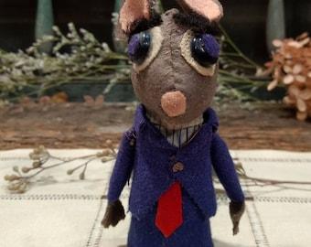 Nattily Dressed and Somewhat Forlorn / Vintage / Handmade / Wool Felt / Mouse Finger Puppet