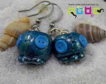 Kawaii Octopus Faux Plush Drop Dangle Earrings- Irridescent