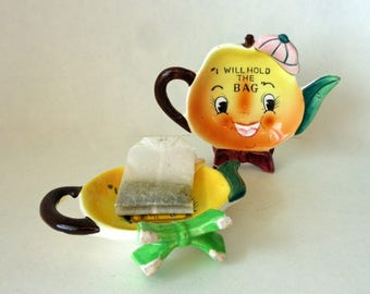 Tea for Two Vintage NAPCO Anthropomorphic Smiley Fruit Tea Bag Holder Set With Hats & Bows I Will Hold The Bag B2676 Ceramic Painted Decor