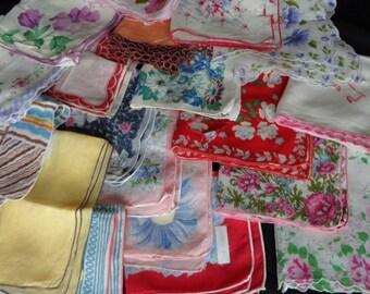 Horrible Hanky Lot of 19 Beautiful but Flawed Vintage Handkerchiefs Floral Scalloped Hem hankys hankies ladies Craft Supply hand rolled hem
