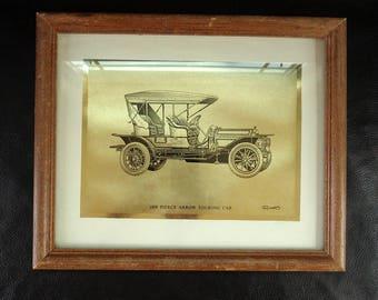 Old car print, vintage wall hanging, framed gold metallic paper car illustration print, solid wood frame