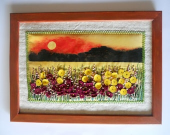 Wall art  Hanging textile picture  Thread painting embroidery