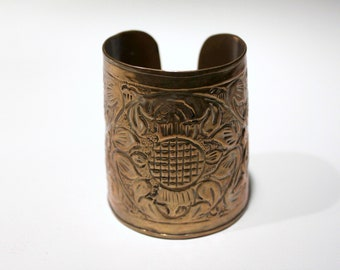 Vintage  Ethnic very wide floral embossed brass cuff bracelet Made in India