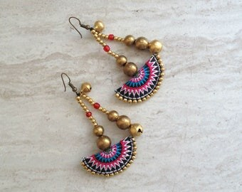 Half Moon Tribal Beaded Drop Earrings Hmong Pink Turquoise Textile Brass Bead Dangle Earrings