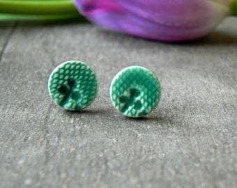 Ceramic Lace Stud Earrings, Small Artesian Clay Mint Earrings, Botanical Pottery Jewelry Aqua Jewelry, Green Porcelain