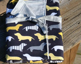 Yellow & Gray Dachshunds Double Sided Flannel/Receiving Blanket, Baby Blanket, Flannel Blanket
