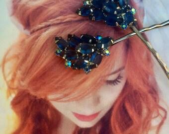 Bridal Hyacinth Blue Decorative Hair Pins 1950 1960 Vintage Regency Hairpins Bobby Pins Fairytale Fantasy Wedding