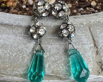 1stDayofSummerSALE Czech Teal Green Blue Glass Earrings Vintage 1920 1930 Fantasy Bridal Fairytale Fairy Tale Wedding Tropical Isles
