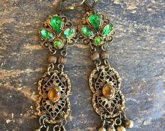 1stDayofSummerSALE Renaissance Filigree Earrings Bridal Jewelry Wedding Art Deco Amber Emerald Green