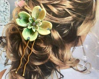 Lisner 1940 Dogwood Hair Pin Woodland Goddess Decorative Vintage Rustic Bridal Wedding (1)