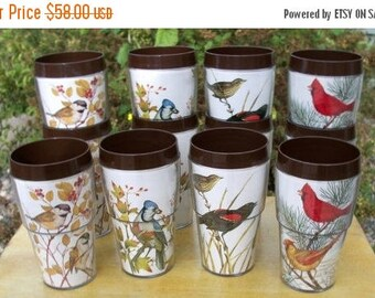 ON SALE Vintage set of 12 New Mar Thermoware Glasses Cups Tumblers copyright 1977 James Lockhart bird artist prints barware, barbeque, campi