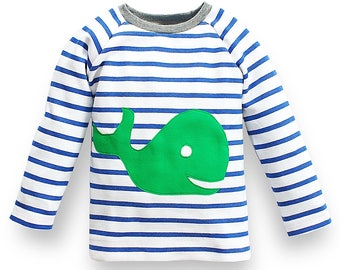 organic toddler boy jumper, long-sleeved shirt for boys with whale appliqué, 100% organic cotton with blue and white stripes,made in Germany