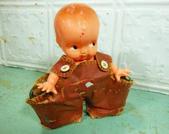 Vintage Irwin Kewpie Doll Shot Glass Holder, Hard Plastic Doll Carrying Shot Glasses in Red Brown Overalls, Made in USA