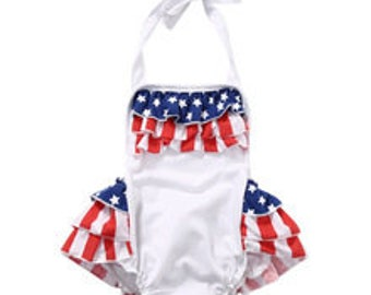 Custom Patriotic, 4th of July red, white, blue Ruffle Baby Infant Girl Romper