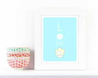 L is for Lion - screen print nursery art