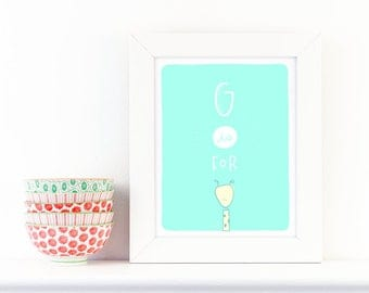 G is for Giraffe - screen print nursery art