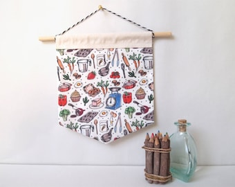 kitchen handmade patterned wall hanging | fabric banners, home decor
