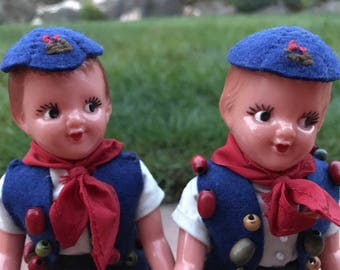 Two adorable antique/vintage campfire girl collectible dolls.