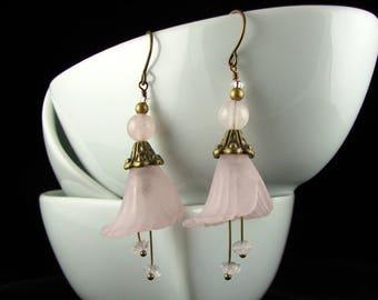 Rose Quartz and Flower Earrings