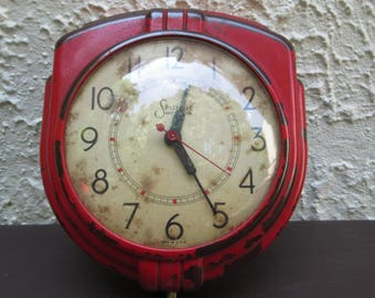 Vintage Bakelite Wall Clock, Sessions Model W Electric Clock, Working Clock, Painted Clock, Art Deco Clock, Red Clock