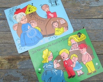 Vintage Wooden Puzzles, Old Woman Who Lived in a Shoe, Playskool Puzzle, Sifo Puzzle, Nursery Room Decor