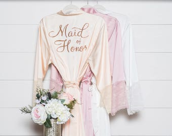 Bridesmaid Gift - Wedding Robe - Satin & Lace Robe - Bridal Robe - Bridesmaid Robes - Bride Robe