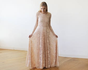 Round Neckline Maxi Pink Lace Dress With Long Sleeves 1147