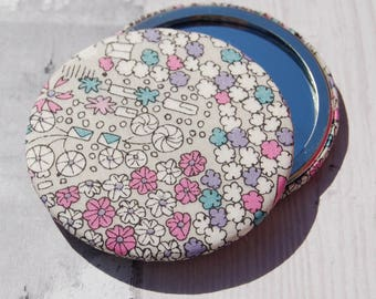 Liberty Fabric Covered Pocket Mirror