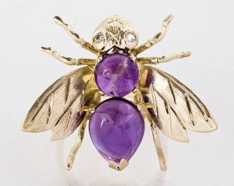 Vintage Ring - Vintage 14k Yellow Gold Amethyst & Diamond Bee Conversion Ring
