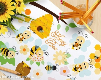 Honey Bee Clipart, Bumble Bee, Spring Garden, flower, gardening, honey, Fall, Autumn, Commercial use, vector clipart, SVG Cutting Files