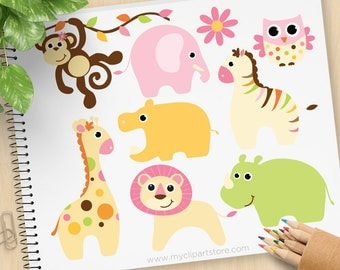 Baby Girl Safari Animals Clipart, lion, monkey, elephant, giraffe, zebra, hippo, rhino, zoo, Commercial Use, Vector clip art, SVG Cut Files