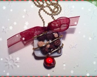 Chocolate Christmas ref 227 plate pendant necklace