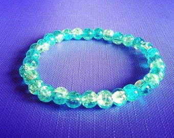 Bracelet turquoise and green cracked beads