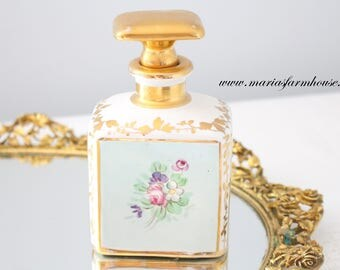 VERY RARE, Porcelain Artist Signed, Handpainted Perfume Oil Vessel with Stopper, Vanity Decor, Gifts for Her - ca. 1920s