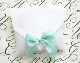 SACHET, Aromatherapy, French Dried Lavender Sachet with Silk Aqua Ribbon, Bridal Shower Gift