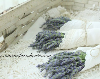 DRIED LAVENDER, Bunch with Vintage Embroidered or Lace Linen Wrap w/Satin Bow or Twine, Bachelorette, Bridal Shower, Rustic Wedding
