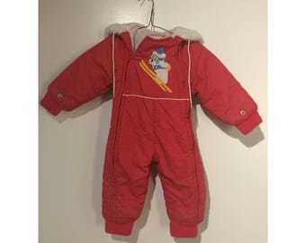 Vintage Red Arctic Expedition snow suit with hood size 12 mos