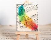 Rainbow Feather Sheet Music Mini Canvas Original Unique Mixed Media Art & Mini Easel