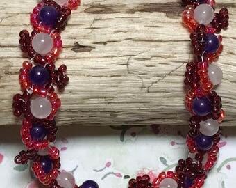 Red Beaded Bracelet Red White Bracelet Seed Bead Bracelet Red Woven Bracelet Red Rounds Bracelet Beadwork Bracelet Size 7 Bead Bracelet