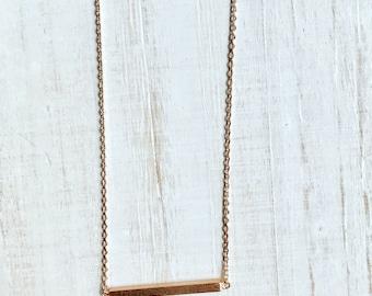 Rose Gold Bar Necklace // Minimalist Bar Necklace