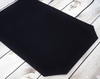 12 x 18 BLACK placemat, wedding table linens, dining room place setting, ready to ship