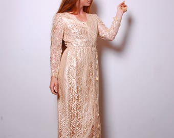90s medium rose gold lace wedding dress womens gown vintage clothing long sleeve full length maxi elegant Alicia