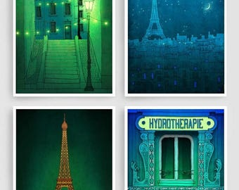 30% OFF SALE: Any FOUR Prints - Save 30 Percent,Set of four Illustrations,Paris Art Prints Posters Home decor Wall art Mixed media Architect